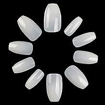 ECBASKET 500Pcs Coffin Nails Short Fake Nails Acrylic Nail Tips Full Cover Artificial Nails False Nails Ballerina Nail Tips 10 Size (Natural)