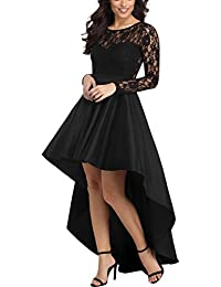 16fece02fd56 Women s Vintage Lace Long Sleeve High Low Cocktail Party Dress