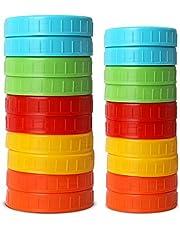 2 Unidades Boca Ancha Amarillo iLIDS Mason Jar Beber Tapa Negro 2-Pack pl/ástico