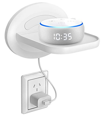 Bovon Estante de Pared Pequena, Estante Mural para Echo Dot 3, Sonos, Google WiFi, Altavoces de Casa Inteligente y Movil, Organizador para Arreglo Cable de Cualquier Dispositivo de hasta 15 Libras
