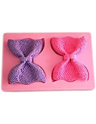 Longzang Bow Art Deco Silicone Mold Sugar Craft DIY Gumpaste Cake Decorating Clay Pink