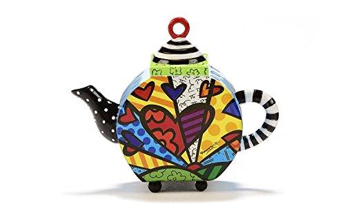 """Romero Britto Decorative Mini Teapot Figurine- """"A New Day"""" Hearts Design"""