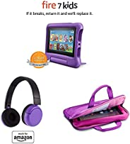 Fire 7 Kids Essential Bundle including Kids Fire 7 Tablet 16GB Purple + Poptime Bluetooth Headset (Ages 8-15)