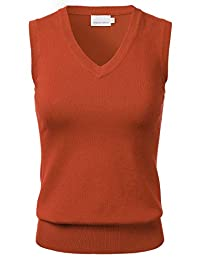 FLORIA Women's Solid Classic V-Neck Sleeveless Pullover Sweater Vest Top