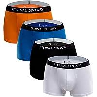 ETERNAL CENTURY Men's Underwear Cotton Stretch Low-Rise Boxer Briefs (4-Pack)