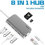 USB C Hub Multiport Adapter 3.1 Type C Dock Station with 4K HDMI, SD Card Reader, PD Charger Port, Gigabit Ethernet, 3 USB 3.0 Ports for Apple Macbook Pro 2017, Dell XPS 13, Google Chromebook