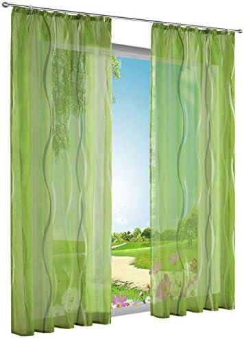 BAILEY JO – 1 tenda semi-trasparente con motivo a onde decorative per finestra, 140 x 245 cm, verde tenda con passanti