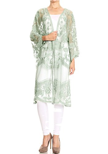 Anna-Kaci Womens Long Embroidered Lace Kimono Cardigan with Half Sleeves, Green, - Lace Embroidered Crochet