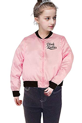 NEWCOS Child Pink Ladies Jacket Grease T-Bird Little Girls' Satin Coat Size 6-14 - Little Kids Perfect Pink Apparel
