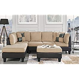 Casa Andrea Modern 3-Piece Microfiber and Faux Leather Sofa and Ottoman Set, 102″ W