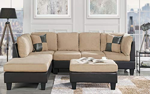 Casa Andrea Modern 3-Piece Microfiber and Faux Leather Sofa and Ottoman Set, 102