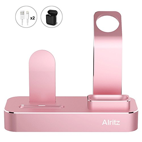 Charging-Stand-for-Apple-Watch-Series-4-3-in-1-Aluminum-Desktop-Charging-Station-Charger-Dock-Holder-for-iPhone-Xs-MaxiPhone-XiPhone-XR88-Plus77-Plus-and-AirPods-Rose-Gold