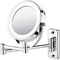 Espelho Articulado Iluminação LED Ampliação 5x Casa Banheiro