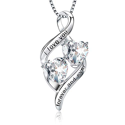(MUATOGIML 925 Sterling Silver I Love You Forever and Ever Infinity Double Love Heart Pendant Necklace, Birthday Jewelry Gifts for Women Girls)