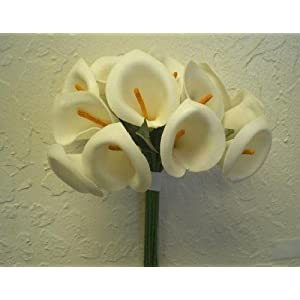 Phoenix Silk 24 Stems Mini Calla Lily Artificial Foam Flowers 2 Bundles 725 17