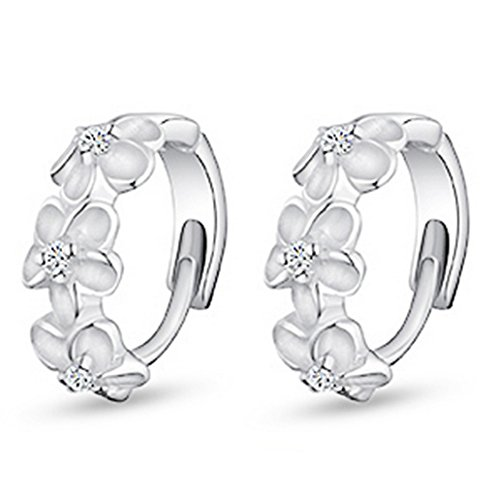 YiYi Operation Flower ear button Clip Silver Plated Hoop Stud Earrings Women's (Round Button Clip Earrings)