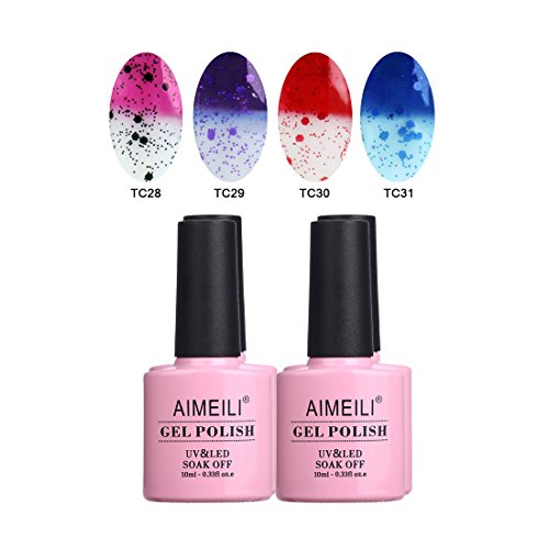 AIMEILI Temperature Color Changing Soak Off UV LED Chameleon Gel Nail Polish Set Of 4pcs X 10ml- Kit Set 16