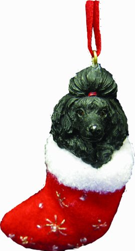 Black Poodle Christmas Stocking Ornament with