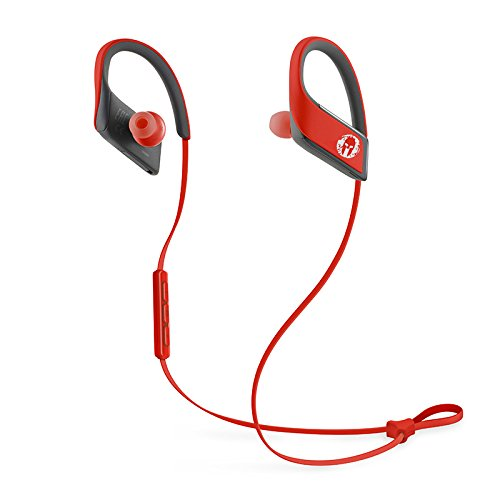 Earbud Ipod Panasonic (Panasonic WINGS Wireless Bluetooth In Ear Earbuds Sport Headphones with Mic + Controller RP-BTS30P1-R (Victory Red), IPX4 Water Resistant, Spartan Limited Edition)