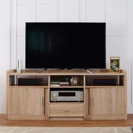 Amazon Com Tv Stands Table Cabinet Natural Oak Wood For Up To 70