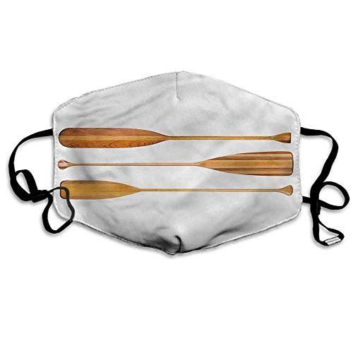 Oar Dust Mouth Mask Three Wooden Canoe Paddles for Men and Women W4