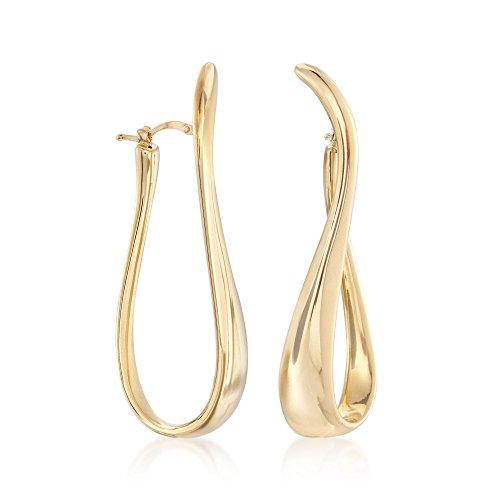 (Ross-Simons Italian 18kt Gold Over Sterling Silver Twisted Hoop Earrings)
