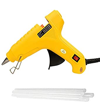 Bond007 MHK 40W Hot Melt Glue Gun with On-Off Switch, LED Indicator and 4 Sticks (Yellow)