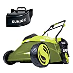 """Sun Joe MJ401C, 14 inches, Green 14 POWERFUL: Perfect for small to medium lawns, battery-powered mower's durable steel blade cuts a crisp 14"""" wide path with precision in a single pass PERFORMANCE: The 28 V 4 Ah rechargeable lithium-ion battery for up to a quarter acre of continuous mowing per charge ADJUSTABLE DECK: Tailor cutting height with 3-position manual height adjustment"""