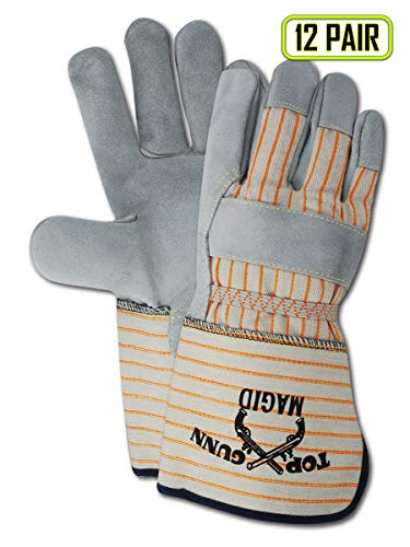 Magid Glove & Safety TG824E-LOGO-M Magid Top Gunn TG824ELOGO Premium Cow Split Palm w/Rubberized Cuff, Gray, Medium (Pack of 12)