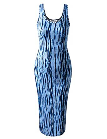 CLOVERY Women's Casual Sleeveless Solid & Pattern Summer Maxi Dress with Plus Size - Multicoloured - X-Small
