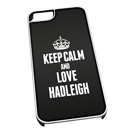Bianco Cover per iPhone 5/5S 0289Nero Keep Calm And Love Hadleigh