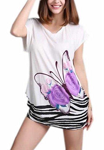 Silk Butterfly Print Dress - 4