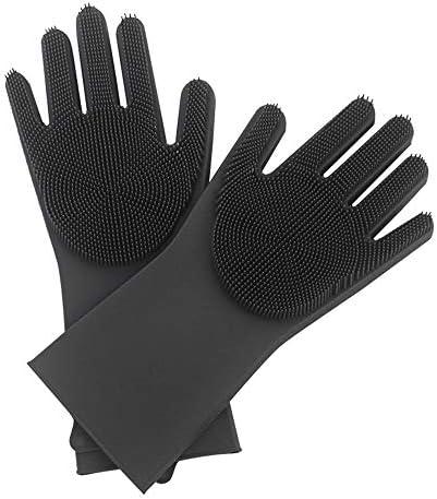 WuMin マジックブラシ手袋マルチカラー防水絶縁手袋家庭掃除ペット静電気手袋350X150mm(ブルー、グレー、オレンジ、ピンクの4色はオプション) (Color : Gray)