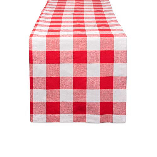 DII CAMZ11240 Cotton Buffalo Check Table Runner for Family Dinners or Gatherings, Indoor or Outdoor Parties, Everyday Use, 14x72, Red ()