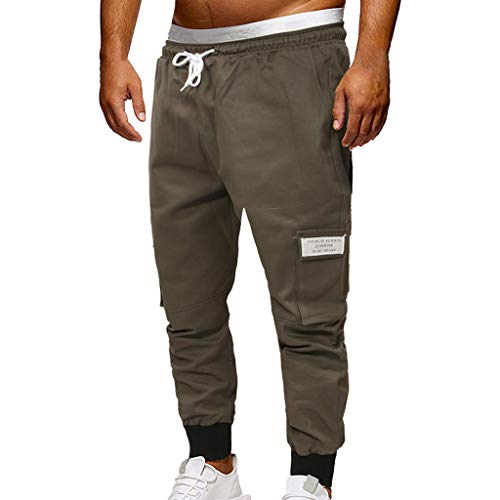 (ZEFOTIM Pants for Men Fashion Sport Jogging Pant Casual Loose Jeans Sweatpants Drawstring Pant(Dark Gray,Large))