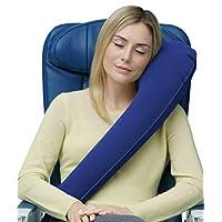 Travelrest: la mejor almohada /almohada InflatableTravel: ergonómica, patentada y mejor ajustable para avión, automóvil, autobús, tren, siesta en la oficina, acampada, silla de ruedas (enrolla hacia abajo, pequeña) (azul)