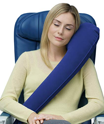 Travelrest - The Ultimate InflatableTravel Pillow/Neck Pillow - Ergonomic, Patented & Best Adjustable for Airplane, Auto, Bus, Train, Office Napping, Camping, Wheelchair (Rolls Up Small) (Blue)