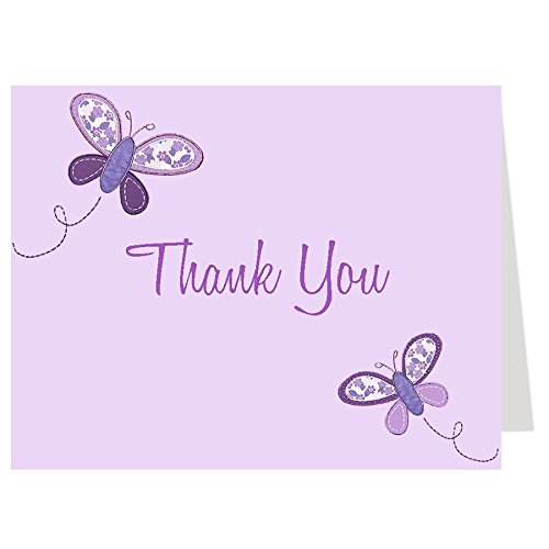 Butterfly Thank You Cards, Baby Shower, Sprinkle, Kids, Girls, Birthday, Botanical, Purple, Lavender, Mint, Fluttering, Flowers, Little Lady, 50 Folding Notes and Envelopes, Butterfly Kisses Purple