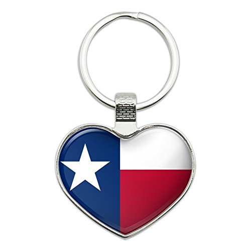 Texas State Flag Heart Love Metal Keychain Key Chain Ring