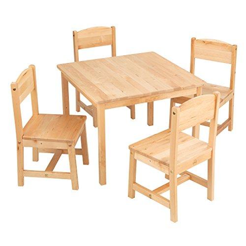 """KidKraft 21421 Farmhouse Table & 4 Chair Set, Natural, 23.6"""" L x 23.6"""" W x 18"""" H"""