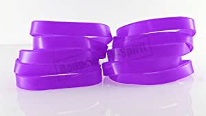 10 Pcs Purple Silicone blank Wristband powerful Rubber Bracelets good luck gift