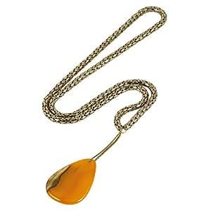 Trinketree Women's Alloy Orange Agate Stone Necklace - 18.5 Inch
