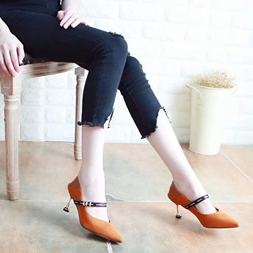 KPHY Damenschuhe Herbst 6 cm High Heels Dünne Ferse Sagte Sagte Sagte Wildleder Frauen Schuhe Mode Heften Flachen Mund Metall Einzelne Schuhe 35 Zucker Farbe 2f331a