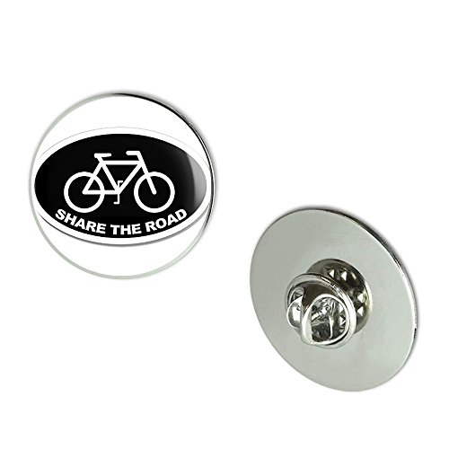 Pin Bike Brooch (NYC Jewelers BLACK Oval SHARE THE ROAD (cycle cycling bike safety) Metal 0.75