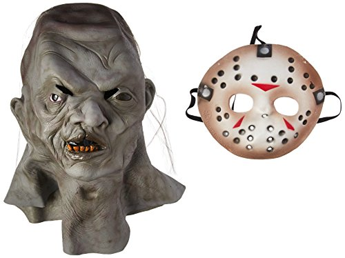 [Rubie's Adult Jason Overhead Latex Deluxe Mask with Removable PVC Hockey Mask - Multicolored - One Size] (Deluxe Jason Adult Costumes)
