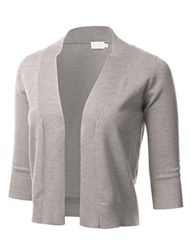 - Women's Classic 3/4 Sleeve Open Front Cropped Cardigan Camel XL