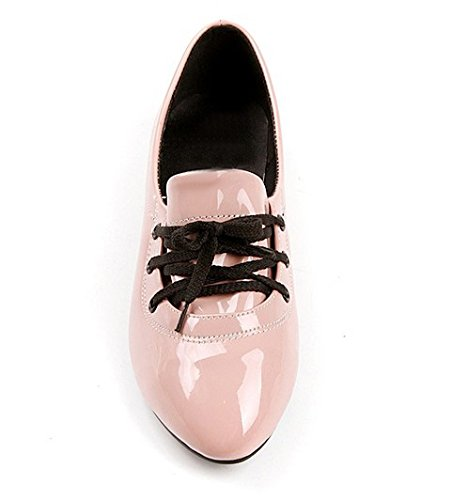 brogues ballet Ladies PU flat leather faux shoes Nonbrand up Pink lace g0Y6xqw