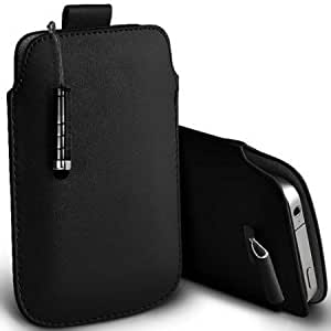 Viesrod Shelfone Stylish Protective Leather Pull Tab Skin Case Cover For Motorola MOTO MT870 L Includes Stylus Pen Black...