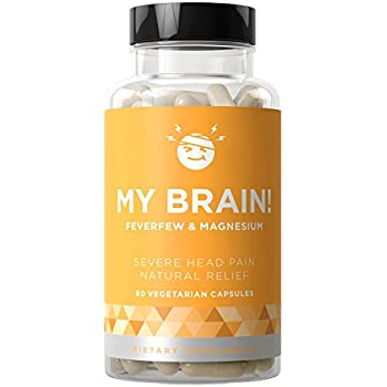 MY BRAIN! Severe Head Pain Relief - Headaches, Nausea, and Sensitivity from Tension and Chronic Strain - Magnesium, Feverfew, Ginger - 60 Vegetarian Soft Capsules