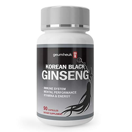 GeumHeuk Korean Black Ginseng Capsule 1000mg Supplement – Non GMO, High Ginsenosides, High Absorption Rate, Enhance Immunity, Metal Performance, Stamina Energy, Men Women – 90 Vegan Capsules